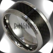 10MM Tungsten & Black Carbon Fiber Band Mens Wedding Ring Engraving Available