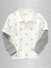 NEW GAP EMBROIDERED SKULL WHITE POLO TOP SIZE 18-24M 2T 3T 5T