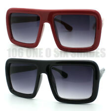 Bubble Flat Top Thick Round Frame Retro Nerd Bold Rectangular Sunglasses