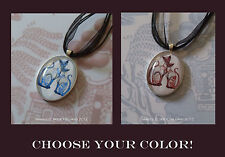 CHOOSE YOUR IMAGE Blue & Red Willow Siamese Cats Necklace Pendants Retro Kitschy
