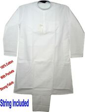 Men's Indian Kurta Pajama 100% Cotton Fabric For Yoga & Casual Wear White
