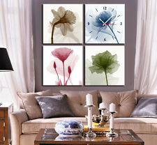 4 Color Flower Wall Clock On Canvas Print Set Of 4 FRAMED Living Room Wall Decor