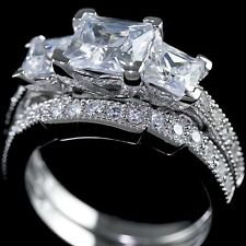 .925 Sterling Silver Simulated Diamond Bridal Engagement Band 3 Stone Ring Set