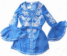 """NEW! """"Arden B"""" Sexy Blue Wide-Sleeve Tunic Micro Mini Cover Up Dress XS, S, M"""