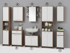 Luxury Monaco White & Walnut  Bathroom Vanity Unit Cabinet Cupboards