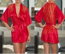 Sexy red satin lace Robe & sleewear for Christmas w1009red free shipping 2 size