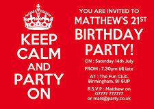 KEEP CALM AND CARRY ON Personalised Party Invitations  x10 -18th,21st,30th,60th