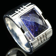 Men's Blue Sandstone Stainless Steel Fashion Stylish Ring