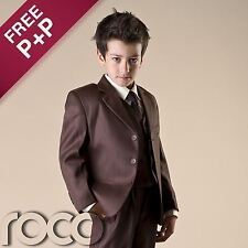 Boys Brown Suit Wedding Communion Formal Prom Page Boy suits 1 - 12 years