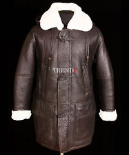 Theo Brown Men's Hooded Warm Winter Real Shearling Sheepskin Leather Duffle Coat