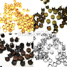 Prong Studs Round Flat Top Metal Dome Silver Gold Gunmetal Leather Craft