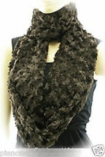 "Faux Fur Polyester Loop Scarf Shawl 62""x6"" Black or Expresso Brown"