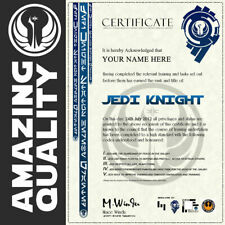 Star Wars JEDI KNIGHT Certificate Ubeliveable Quality with HOLOGRAM Best on Ebay