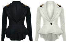 WOMEN LADIES SPIKE STUDDED PEPLUM FRILL TAIL BACK SEXY TOP JACKET/ BLAZER/ COAT