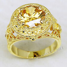 Size 9/10/11 Jewelry Antique 12ct Gold Topaz Men's 18K Yellow Gold Filled Ring