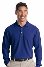 Port Authority Men's Three Button Placket Long Sleeve Pique Polo Shirt. K800LS