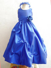 NEW ROYAL BLUE WHITE BRIDESMAID FLOWER GIRL PARTY BRIDAL EASTER DANCING DRESS