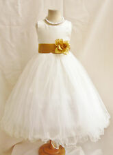 NEW IVORY/IVORY BRIDESMAID WEDDING BIRTHDAY RECITAL PAGEANT  FLOWER GIRL DRESS