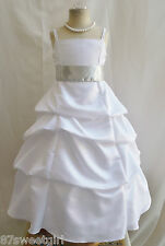 SPU WHITE SILVER WEDDING PARTY RECITAL GOWN PAGEANT FLOWER GIRL DRESS