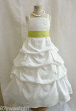 SPU IVORY LIME GREEN WEDDING PARTY PRINCESS PAGEANT FLOWER GIRL DRESSES