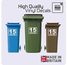 3 x WHEELIE BIN NUMBERS CUSTOM HOUSE AND ROAD/STREET NAME VINYL GRAPHIC STICKERS