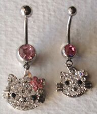 SPARKLY CRYSTAL HELLO KITTY DANGLE BELLY RING - choose flower color / size