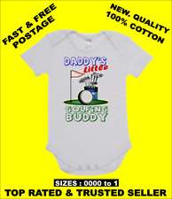 BABY ONE PIECE, ROMPER. ONESIE. printed with DADDY'S LITTLE GOLFING BUDDY romper