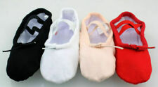 KIDS GIRLS WOMENS LADIES CANVAS BALLET DANCE SLIPPER SHOES BLACK PINK WHITE RED
