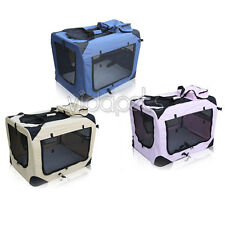 Pink Blue Beige Heavy Duty Travel Soft Foldable Dog Cage Crate Kennel Carrier