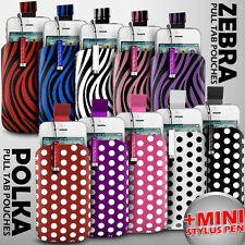 LEATHER POLKA & ZEBRA PULL TAB CASE POUCH + STYLUS FOR VARIOUS ZTE MOBILE PHONES