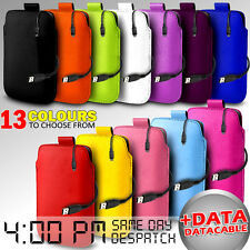 LEATHER PULL TAB POUCH SKIN CASE COVER & DATA CABLE FOR VARIOUS ACER MOBILE