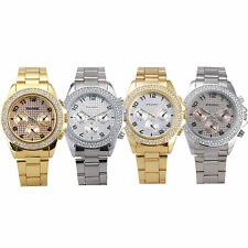 HOT! Mens Ladies Women Silver Golden Stainless Steel Crystal Fashion Wrist Watch