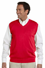 Devon & Jones Men's 100% Cotton V Neck Sleeveless Fashion Vest Sweater. D477