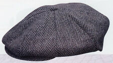 Dorfman Pacific 202D Newsboy 8/4 Cap Herringbone Wool Blend Tweed M L or XL Grey