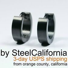 Mens Earrings Black Huggie Hoops (Size XS, M, L, XL)
