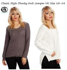 LADIES WOMEN CABLE KNIT TOP JUMPER CHUNKY SWEATER BLOUSE PLUS SIZE CARDIGAN L XL