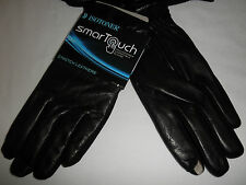 NWT $68 Mens ISOTONER smarTouch Stretch Leather Fleece-Lined Gloves: Black, M L