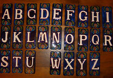 "LETTERS A-Z Handmade Hand painted 2-1/2"" x 5-1/2"" CERAMIC TILE Flower design"
