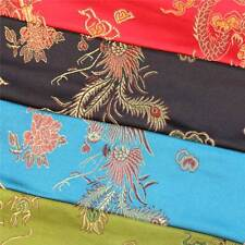 CHINESE ORIENTAL GOLD DRAGON EMBROIDERED BROCADE SILKY SATIN DRESS FABRIC