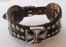 CELTIC GOTHIC IRON CROSS LEATHER WRISTBAND CUFF BRACELET, ADJUST - Blk or Brn
