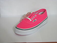 NEW KIDS GIRLS VANS AUTHENTIC NEON PINK TRUE WHITE BLACK ORIGINAL