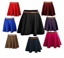 New Ladies Womens Belted Skater Flared Jersey Plain Mini Party Dress Skirt 8-14