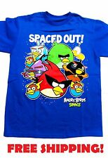 New Licensed Angry Birds Space out Youth Kids Blue video game T-Shirt Tee