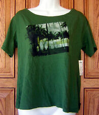 HURLEY DISTRESSED BLACK PALM TREE BEACH DRIP GREEN SCOOP NECK TEE T SHIRT Box49