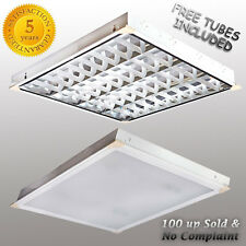 Office Ceiling Light Suspended Louvre / Prismatic Fluorescent Modular Recessed