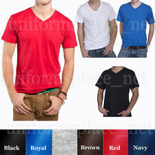 Mens BASIC V-NECK T SHIRTS Plain Solid Color Shirts Tee Top Short Sleeve Cotton