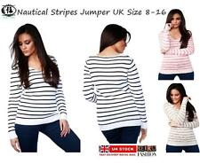 LADIES WOMAN NAUTICAL STRIPED V NECK JUMPER KNITTED SWEATER BLOUSE TOP SIZE 8-16