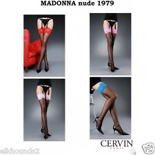 MADONNA Bicolore Black Stockings & fishnet holdups RED orPINK LACE CERVIN FRANCE