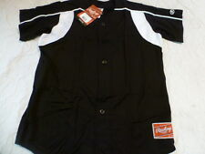 Youth Boys RAWLINGS BLACK With WHITE TRIM Baseball Full Button Down JERSEY New