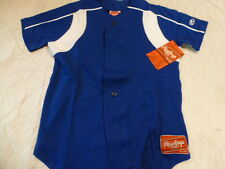 Youth Boys RAWLINGS ROYAL With WHITE TRIM Baseball Full Button Down JERSEY New